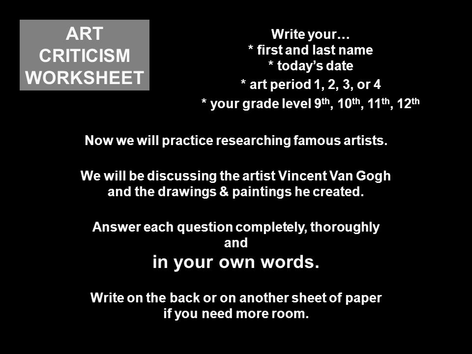 Post Impressionist Painter ppt download – Art Criticism Worksheet