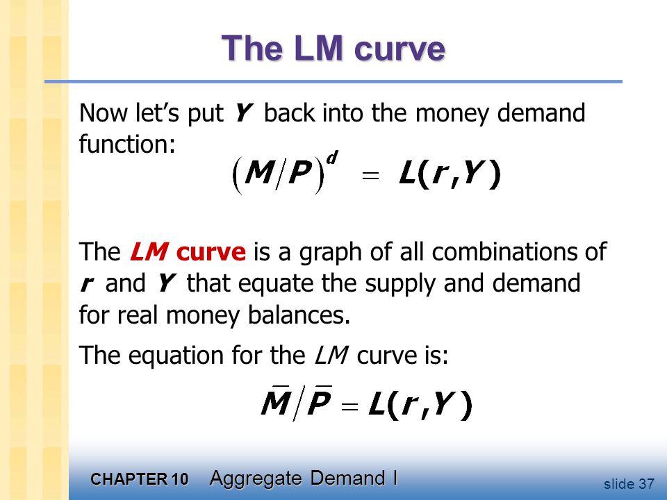 Deriving the LM curve L (r , Y2 ) L (r , Y1 ) r r LM Y1 Y2 r2 r2 r1 r1