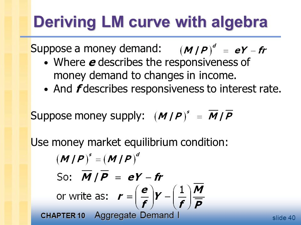Graph the LM curve r LM Slope = e/f Y (1/f)(M/P)