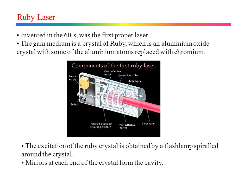 Ruby Laser Invented in the 60's, was the first proper laser.