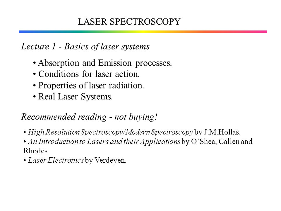 Lecture 1 - Basics of laser systems