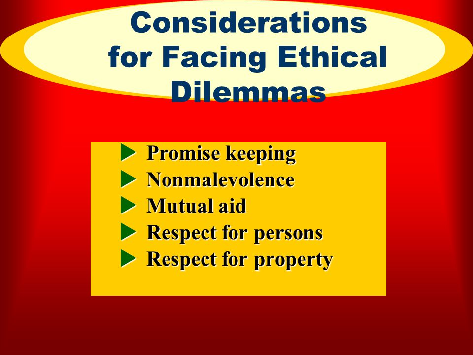 Considerations for Facing Ethical Dilemmas
