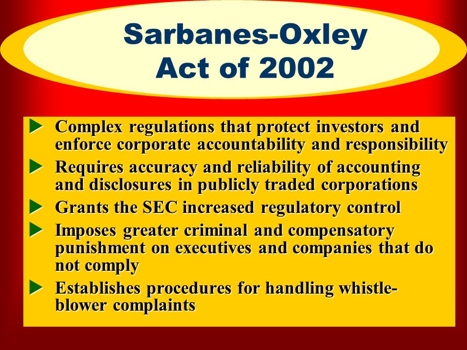 Sarbanes-Oxley Act of 2002 Complex regulations that protect investors and enforce corporate accountability and responsibility.