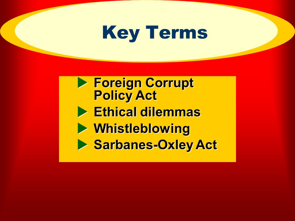 Key Terms Foreign Corrupt Policy Act Ethical dilemmas Whistleblowing