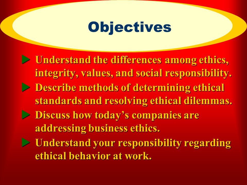 ECFC CHAPTER 4 Objectives. 7/3/2001. Understand the differences among ethics, integrity, values, and social responsibility.