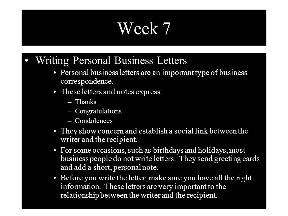 Week 7 Writing Personal Business Letters ppt download