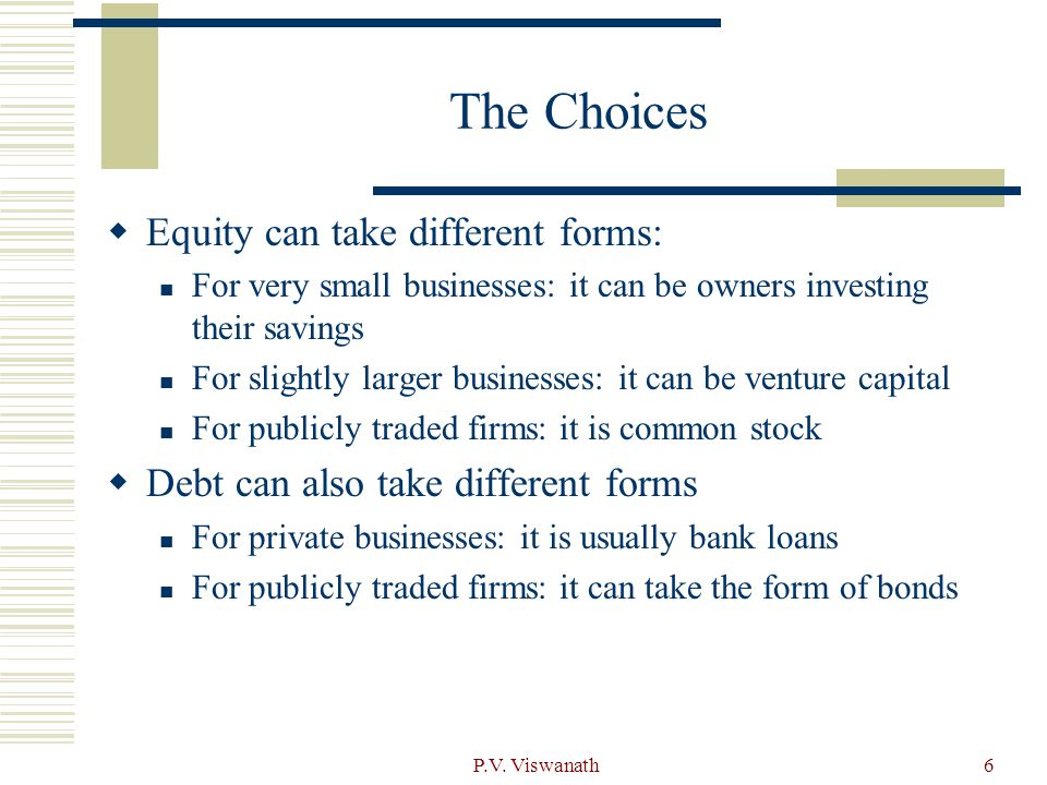 The Choices Equity can take different forms: