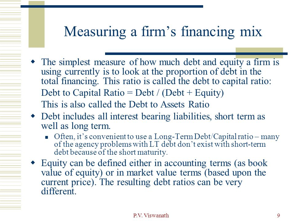 Measuring a firm's financing mix