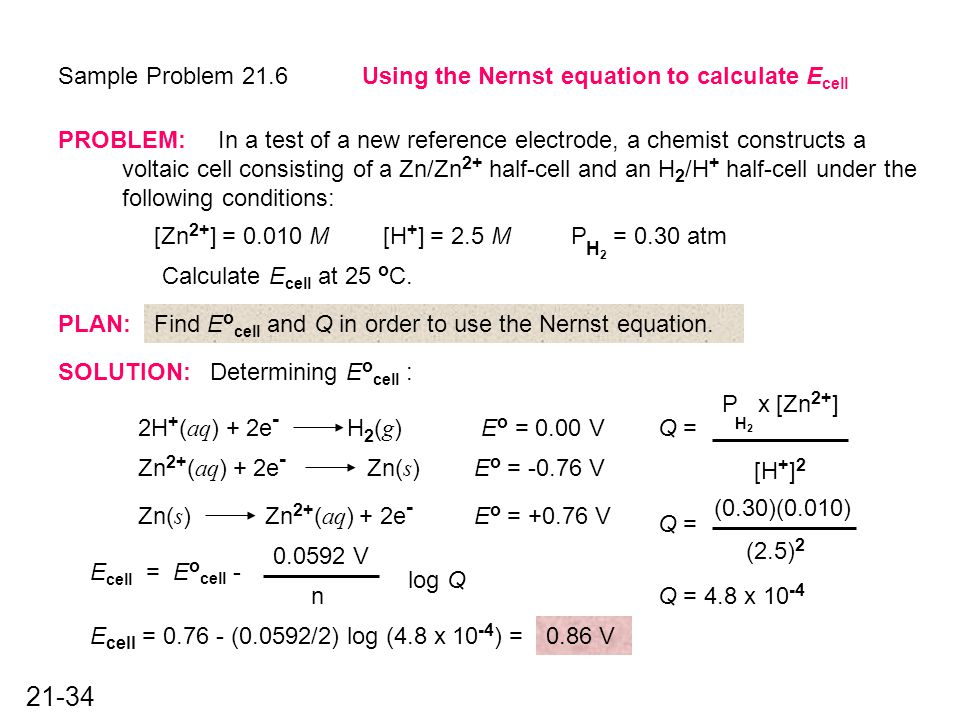 Nernst Equation Example - Jennarocca
