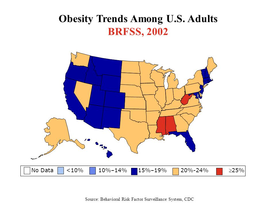 Obesity Trends Among U.S. Adults BRFSS, 2002