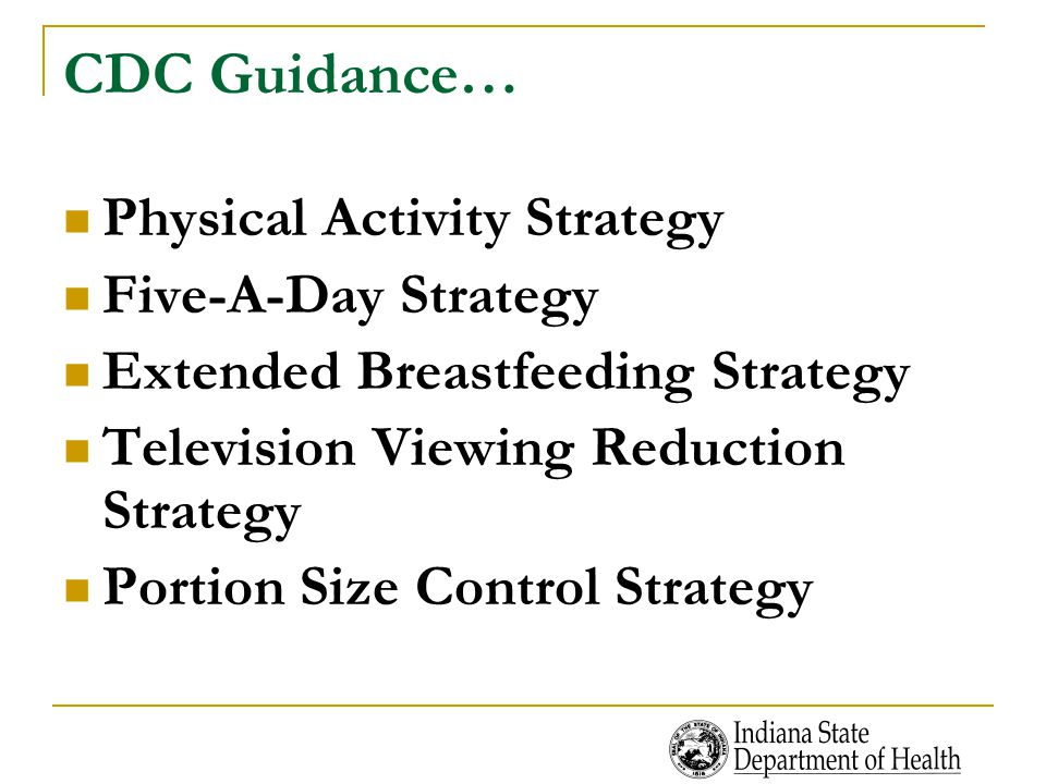 CDC Guidance… Physical Activity Strategy Five-A-Day Strategy