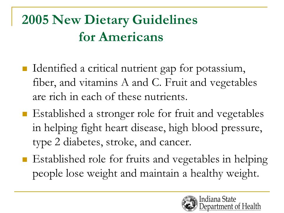 2005 New Dietary Guidelines for Americans