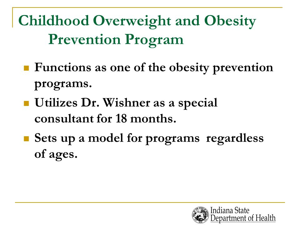 Childhood Overweight and Obesity Prevention Program