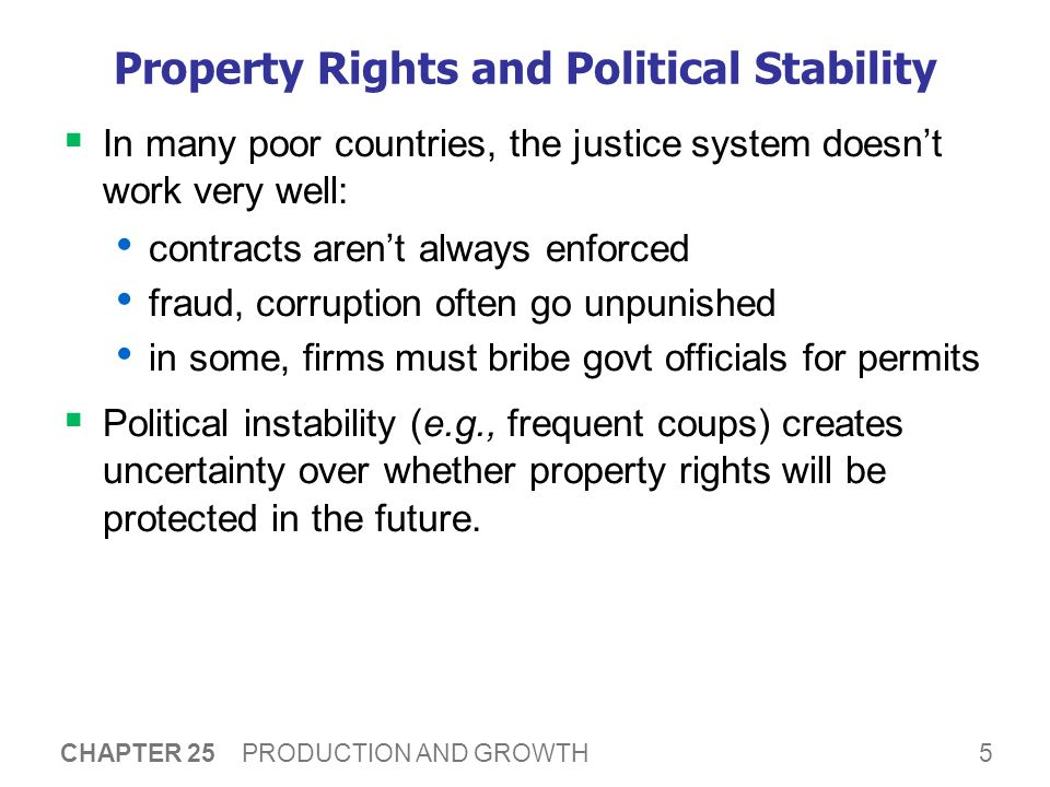 property rights and political stability Conservatism is a political and social philosophy promoting traditional social institutions in the context of culture and civilizationthe central tenets of conservatism include tradition, human imperfection, organic society, hierarchy and authority, and property rights conservatives seek to preserve a range of institutions such as monarchy, religion, parliamentary government, and property.