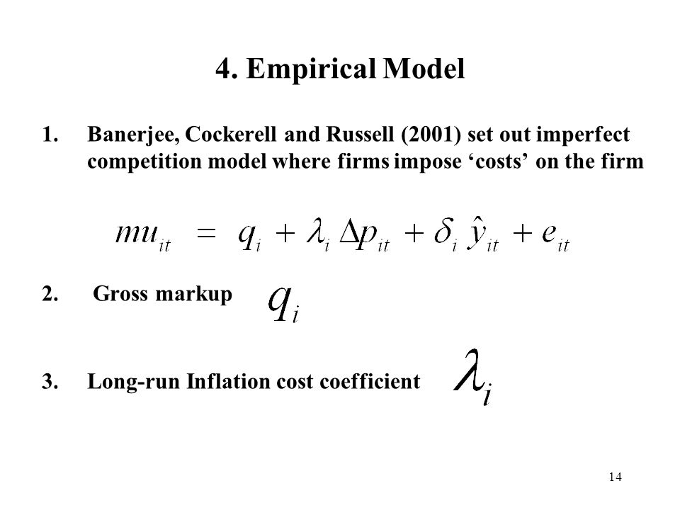 4. Empirical Model Banerjee, Cockerell and Russell (2001) set out imperfect competition model where firms impose 'costs' on the firm.