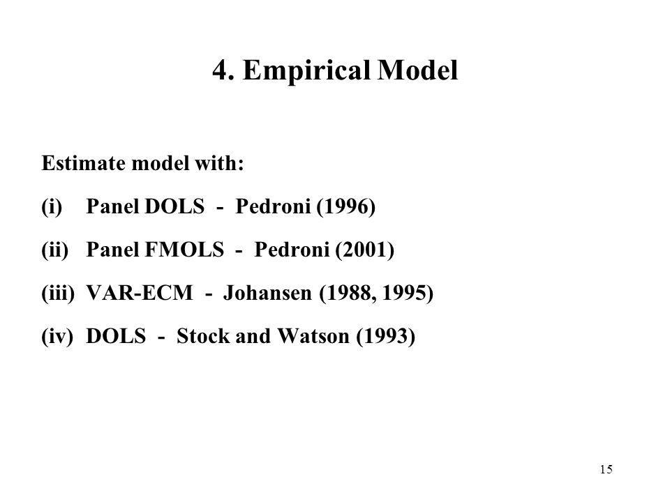 4. Empirical Model Estimate model with: Panel DOLS - Pedroni (1996)
