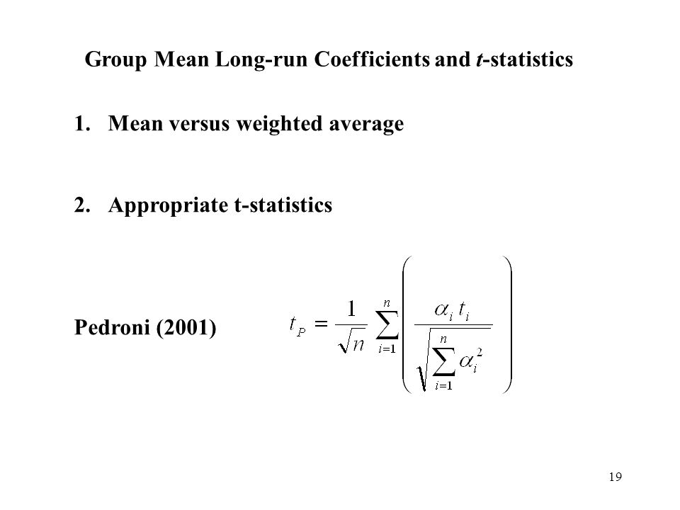 Group Mean Long-run Coefficients and t-statistics