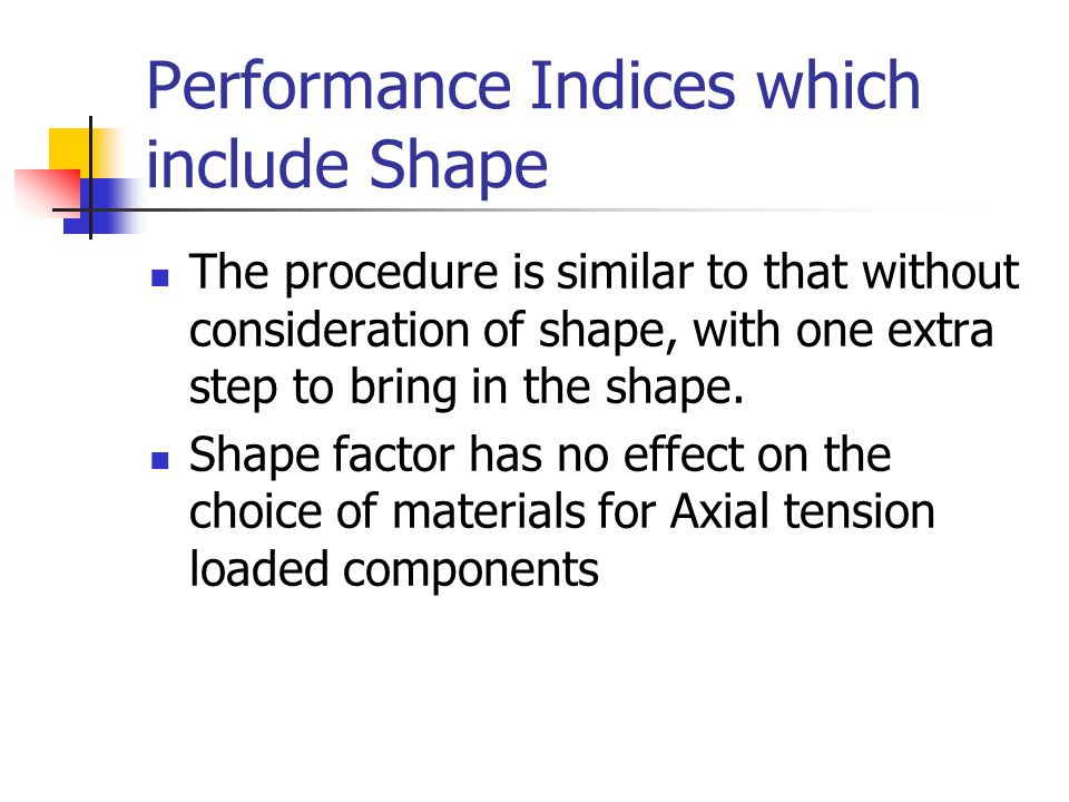Performance Indices which include Shape