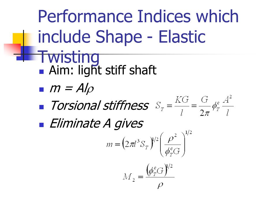 Performance Indices which include Shape - Elastic Twisting