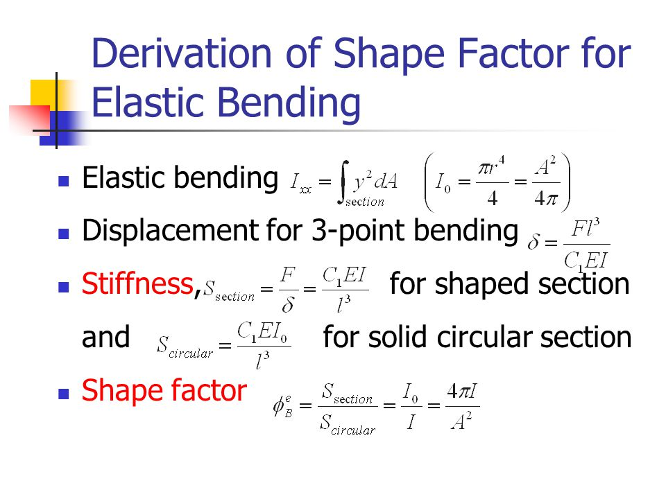 Derivation of Shape Factor for Elastic Bending