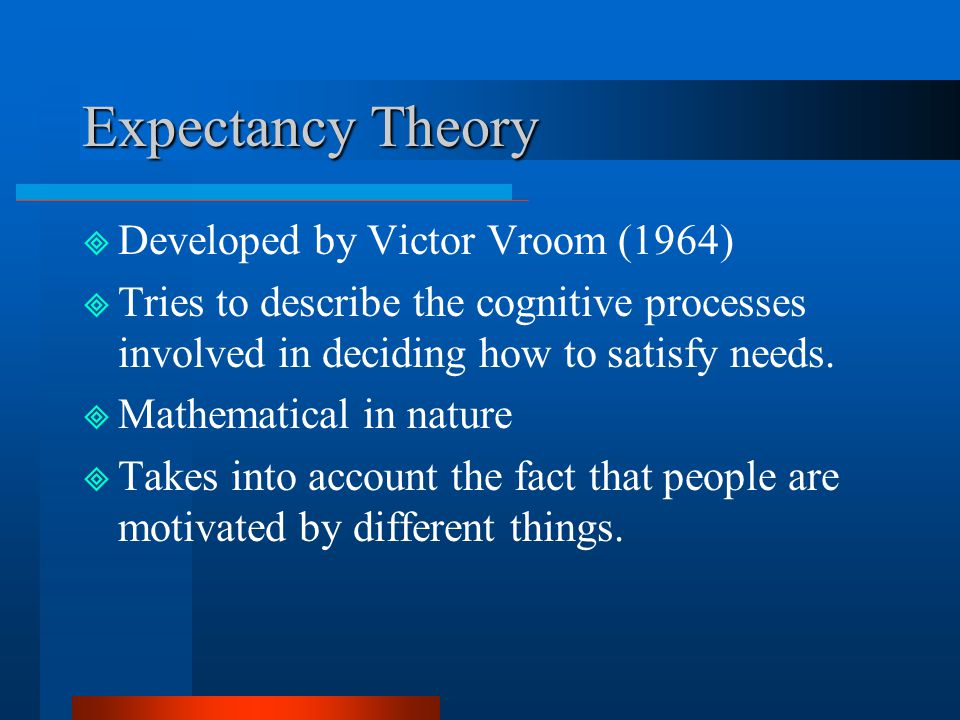 Expectancy Theory Developed by Victor Vroom (1964)