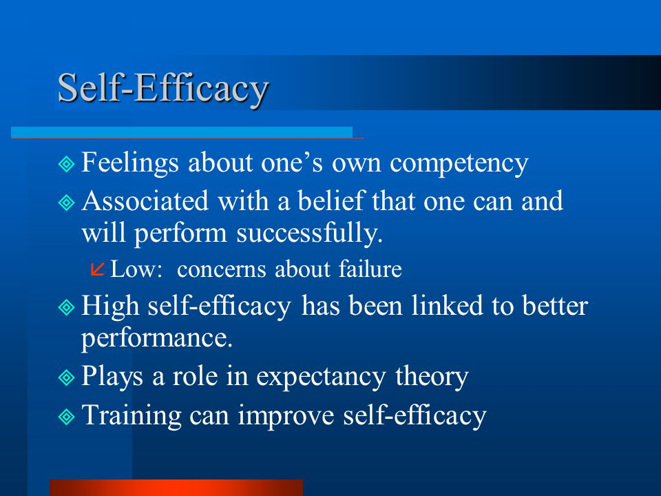 Self-Efficacy Feelings about one's own competency