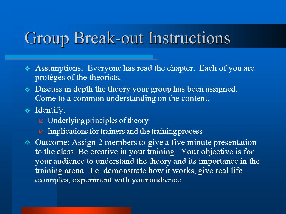 Group Break-out Instructions