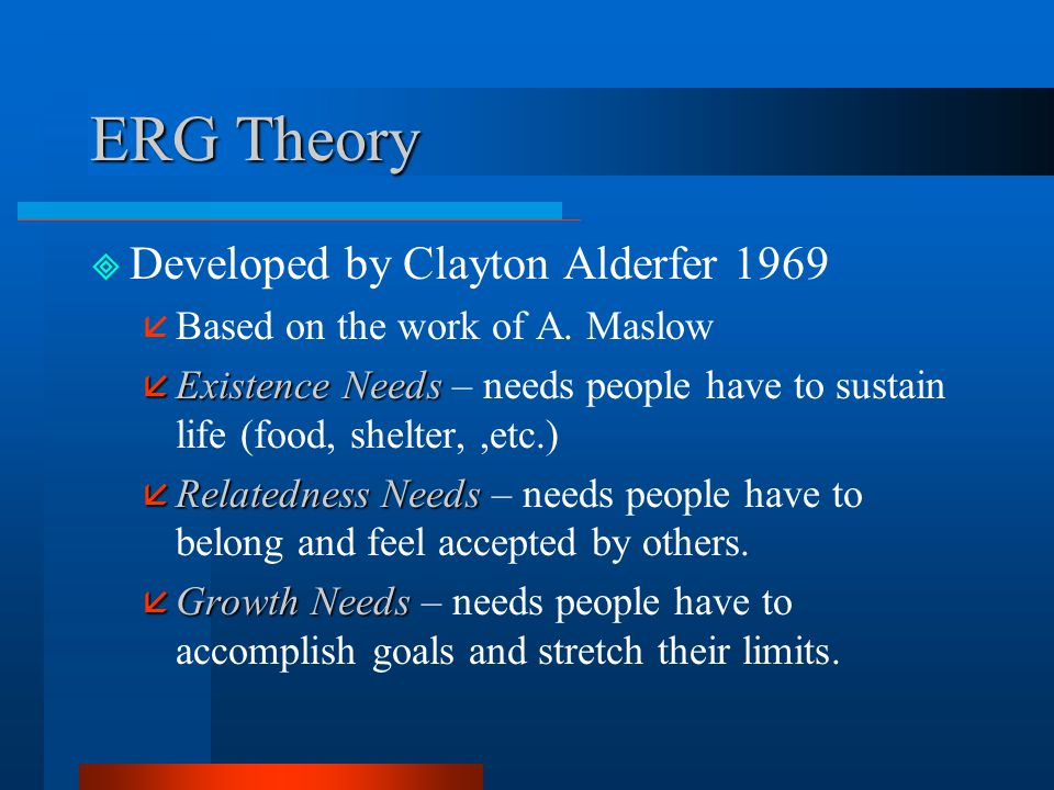 ERG Theory Developed by Clayton Alderfer 1969