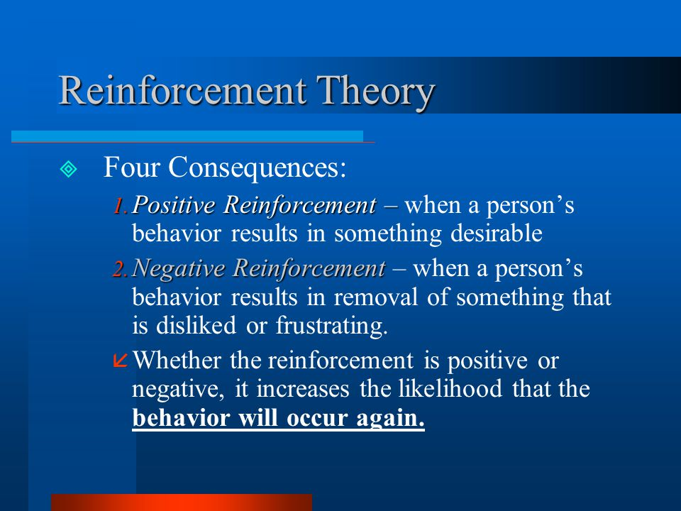 Reinforcement Theory Four Consequences: