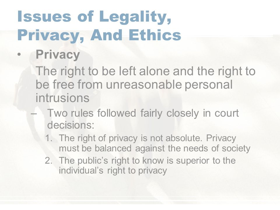 Issues of Legality, Privacy, And Ethics
