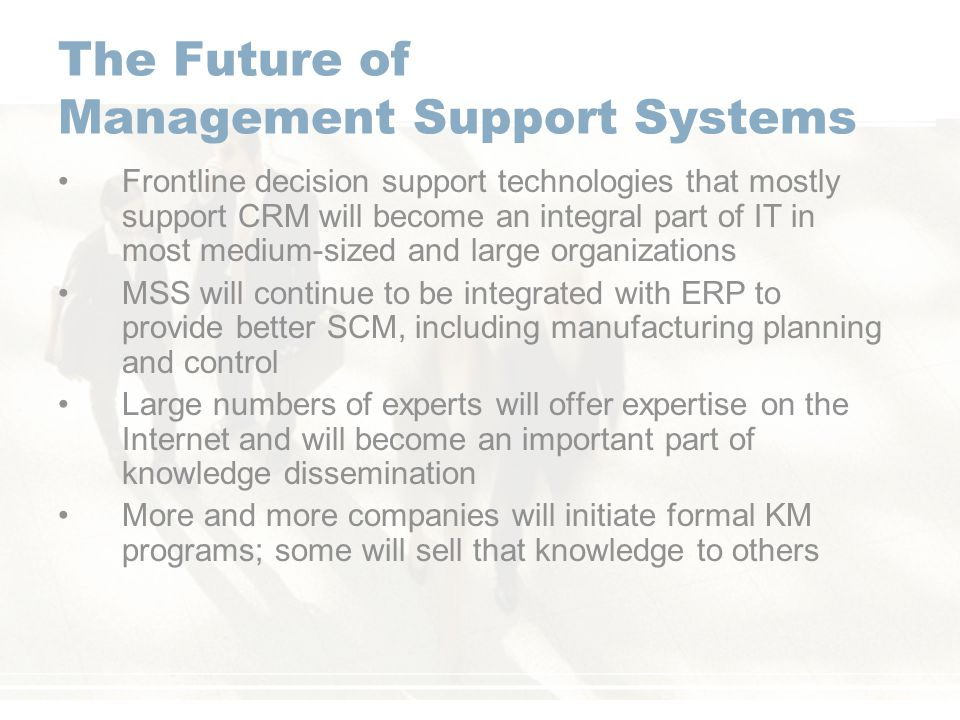 The Future of Management Support Systems