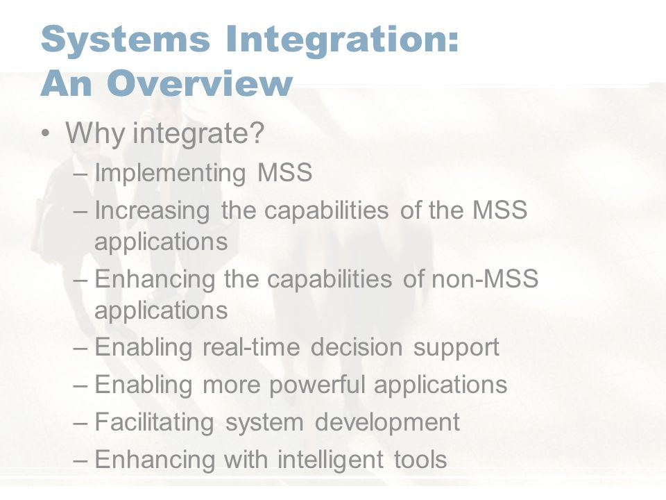 Systems Integration: An Overview