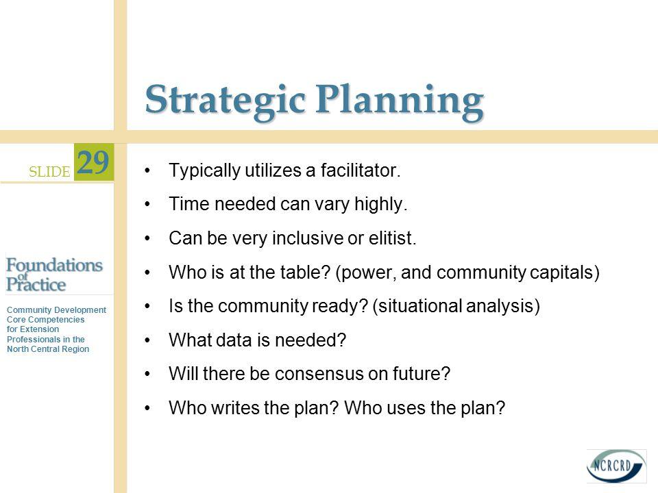 Strategic Planning Typically utilizes a facilitator.