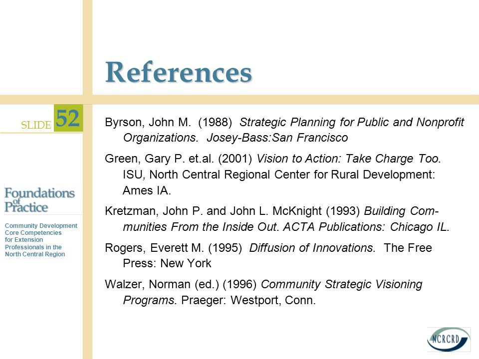 References Byrson, John M. (1988) Strategic Planning for Public and Nonprofit Organizations. Josey-Bass:San Francisco.