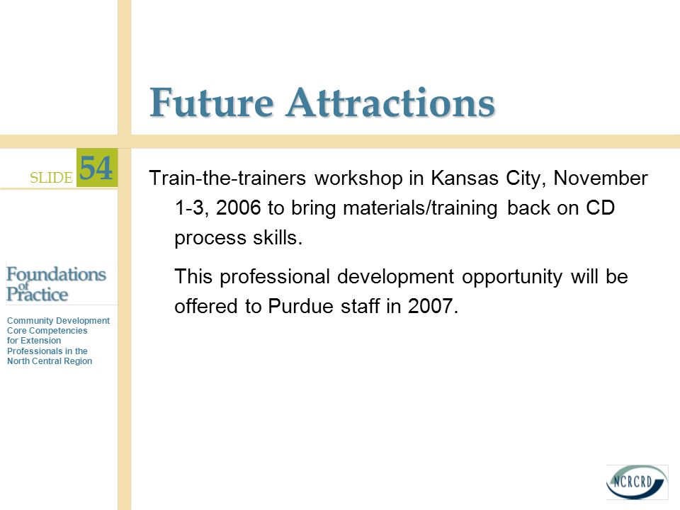 Future Attractions Train-the-trainers workshop in Kansas City, November 1-3, 2006 to bring materials/training back on CD process skills.