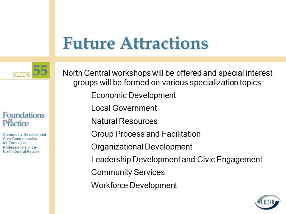 Future Attractions North Central workshops will be offered and special interest groups will be formed on various specialization topics: