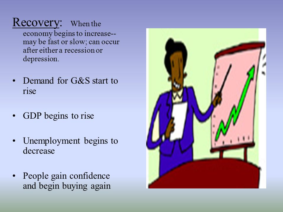 Recovery: When the economy begins to increase--may be fast or slow; can occur after either a recession or depression.