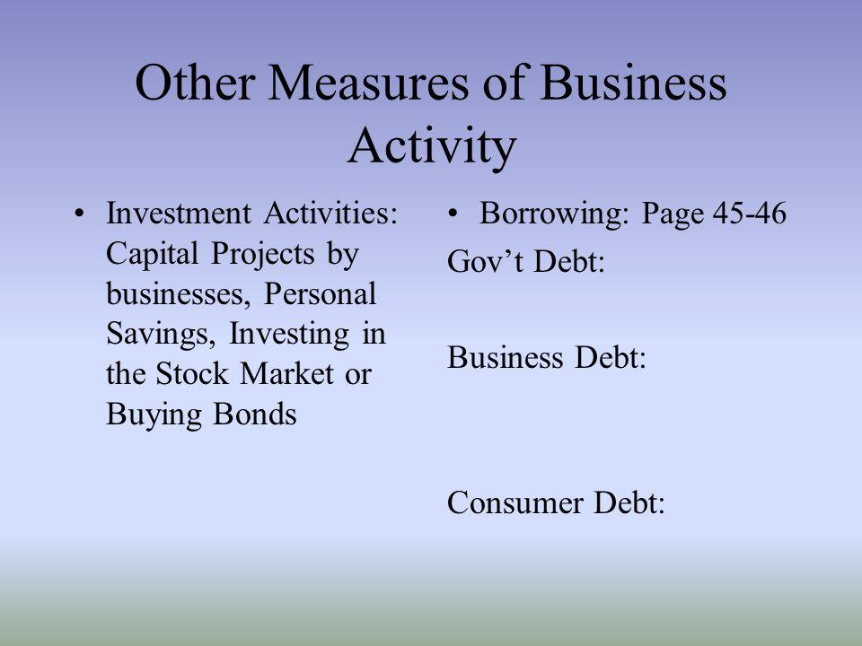 Other Measures of Business Activity