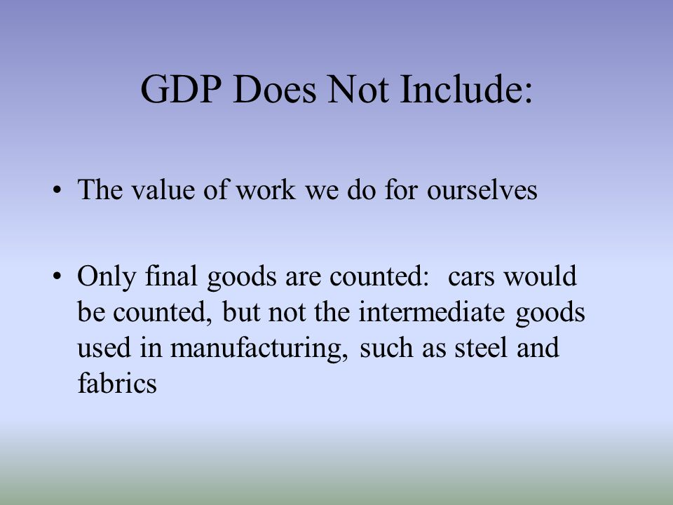 GDP Does Not Include: The value of work we do for ourselves
