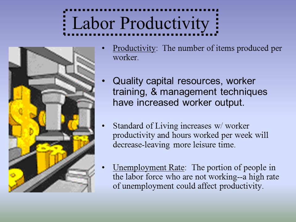 Labor Productivity Productivity: The number of items produced per worker.
