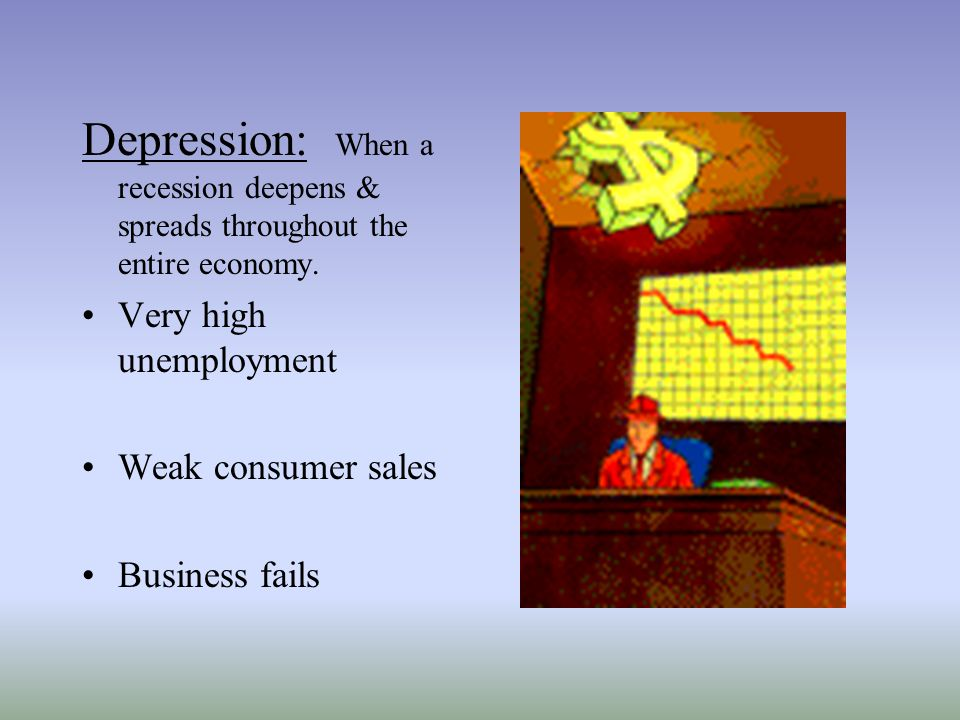 Depression: When a recession deepens & spreads throughout the entire economy.