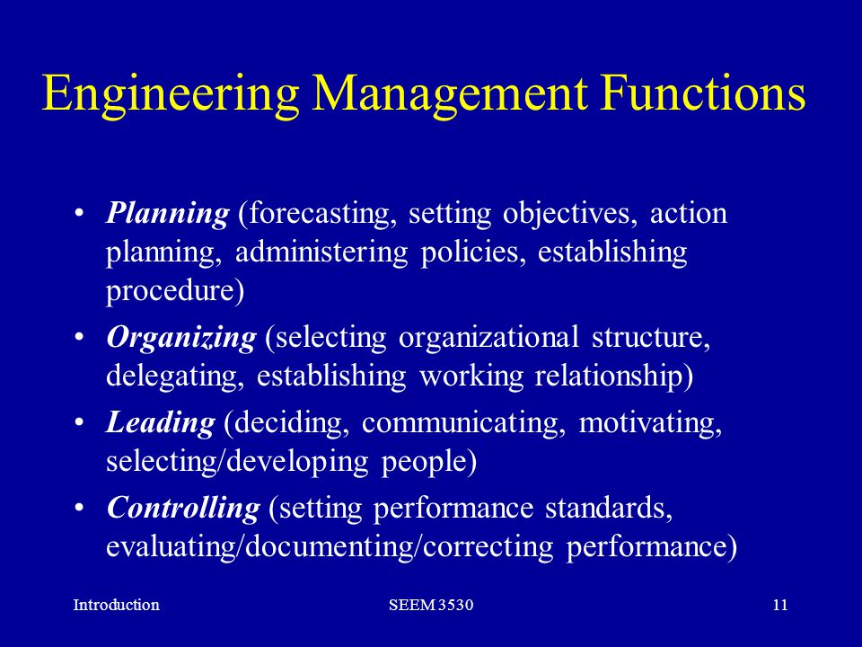 introduction to engineering management pdf