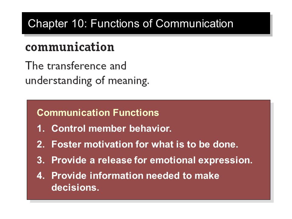 Chapter 10: Functions of Communication