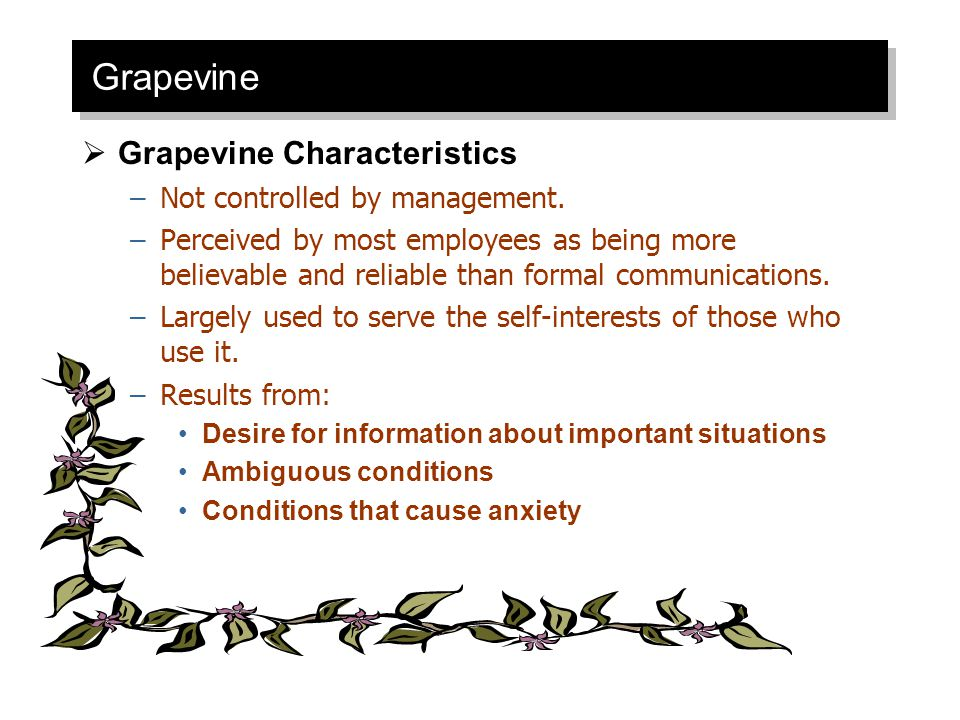 Grapevine Grapevine Characteristics Not controlled by management.