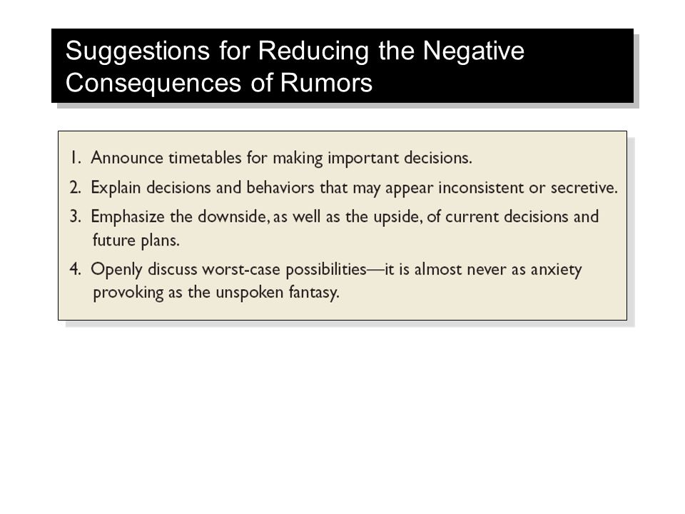 Suggestions for Reducing the Negative Consequences of Rumors