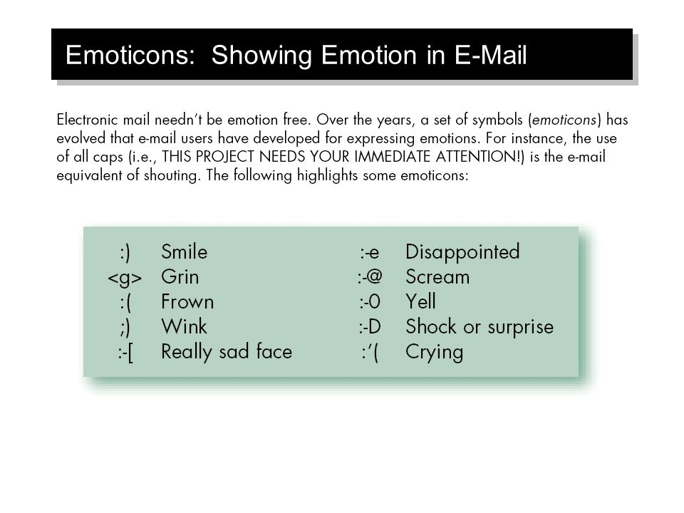 Emoticons: Showing Emotion in E-Mail