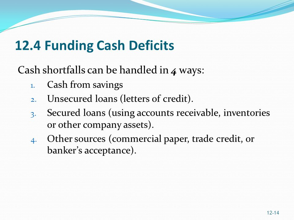 12.4 Funding Cash Deficits Cash shortfalls can be handled in 4 ways: