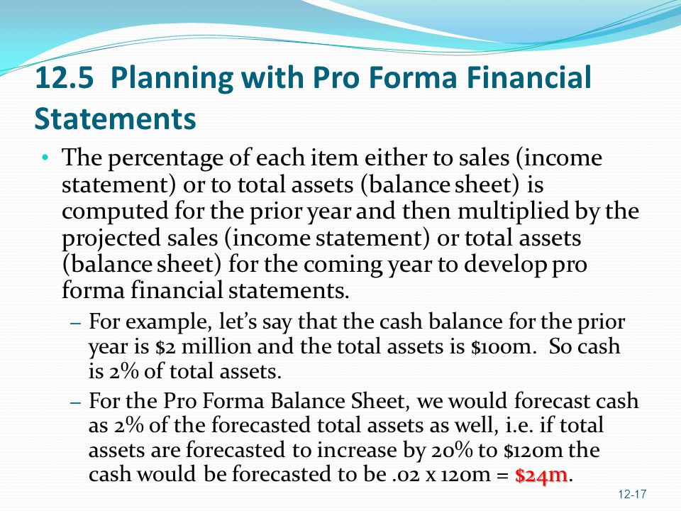 12.5 Planning with Pro Forma Financial Statements