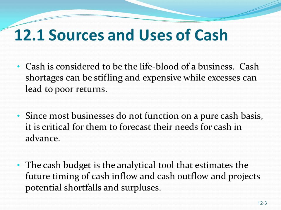 12.1 Sources and Uses of Cash