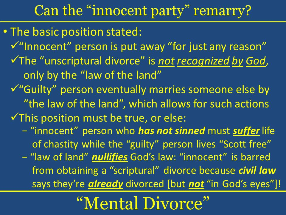 Can the innocent party remarry